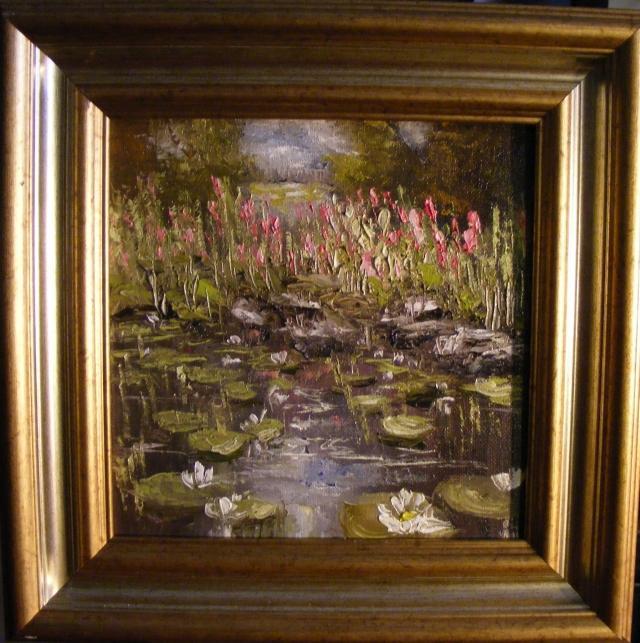 Picturi de primavara Margine de lac cu nuferi