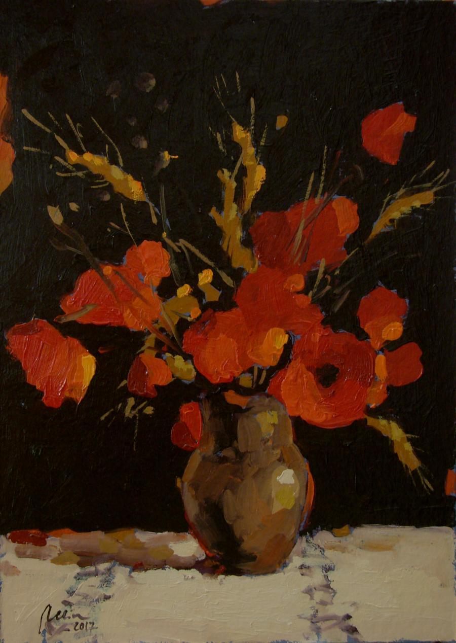 Picturi de primavara Vas de lut cu flori de mac