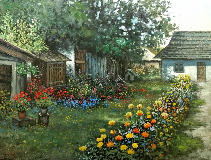 Picturi de primavara ograda cu flori E. S. 2017