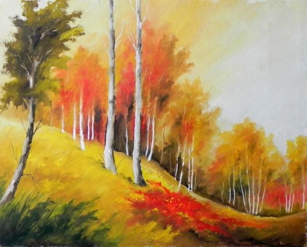 Picturi de primavara Padure rosie primavara