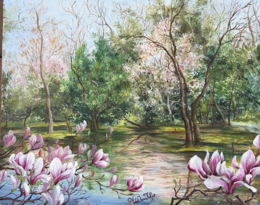 Picturi de primavara Magnolia-vis de primavara