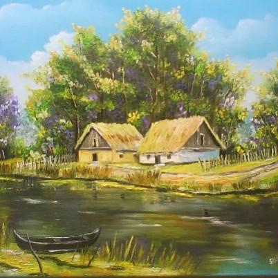 Picturi de primavara Casute in delta