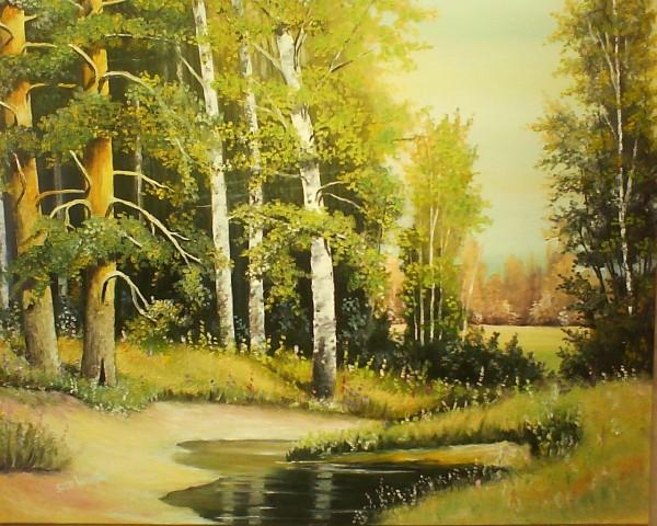 Picturi de primavara Oglinda paduri verde