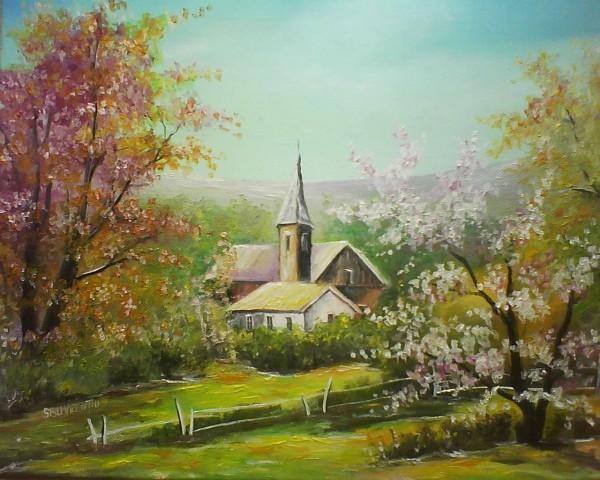 Picturi cu peisaje Primavara,flori de cais