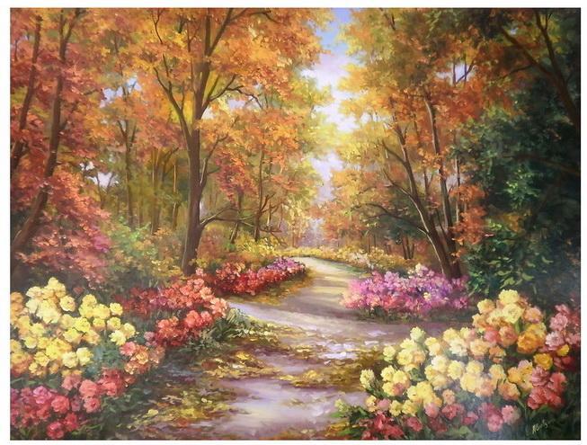 Picturi cu peisaje ALEI INFLORITE CU TOAMNA