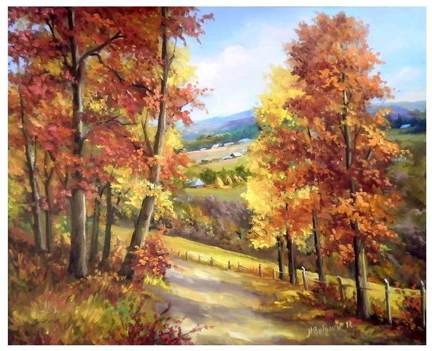 Picturi cu peisaje amiaza ruginie