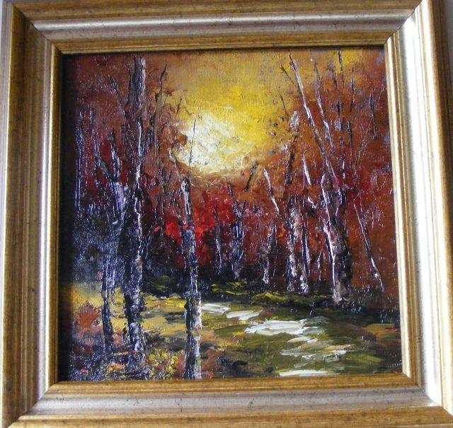 Picturi de toamna Apus cu copaci fara frunze