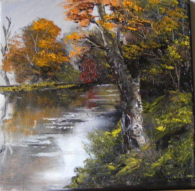 Picturi de toamna Copac pe malul apei