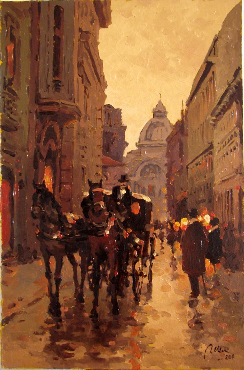 Picturi de toamna cu trasura pe strada stavropoleos