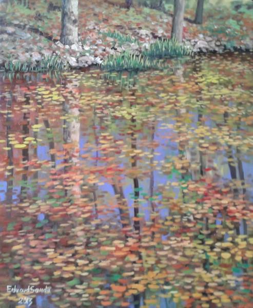 Picturi de toamna Frunze pe lac