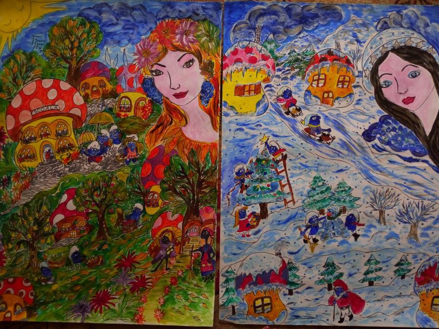 Picturi de toamna toamna/iarna strumfilor