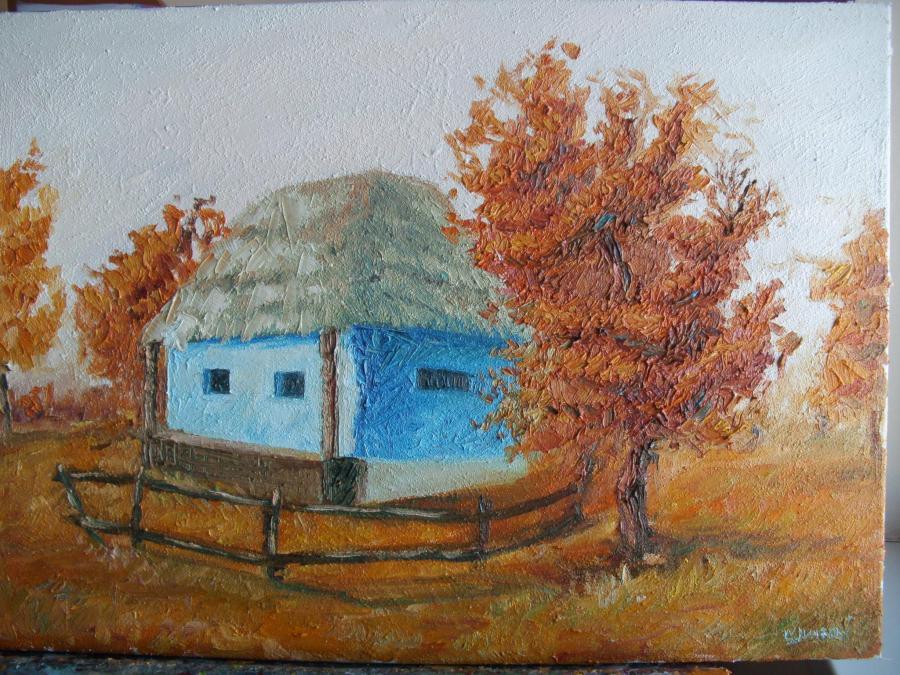 Picturi de toamna Casa albastra