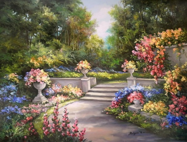 Picturi de vara Vara inflorita pe alei