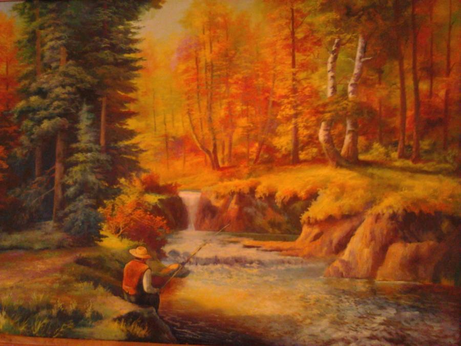 Picturi de vara Pescar pe rau