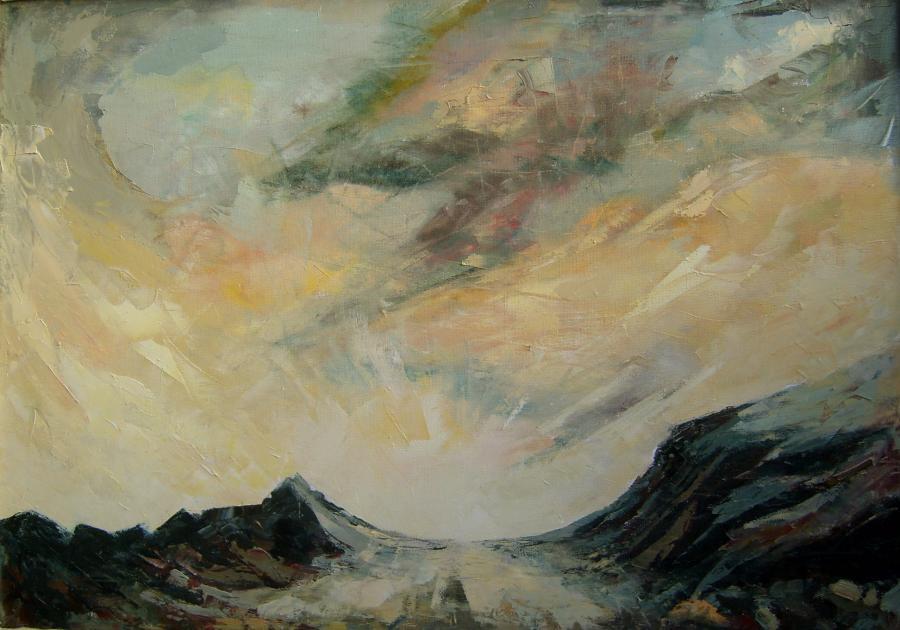 Picturi de vara Apus de soare la deal