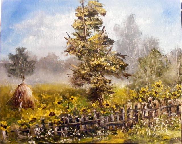 Picturi de vara Gard cu floarea soarelui