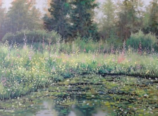 Picturi de vara Vegetatie pe lac
