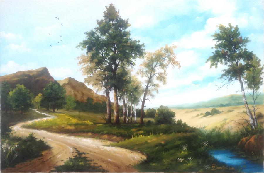 Picturi de vara Drum spre munte