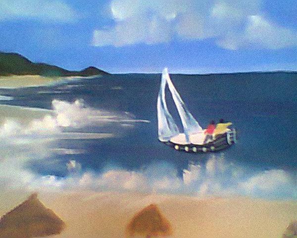 Picturi de vara   Cu barca la malul marii