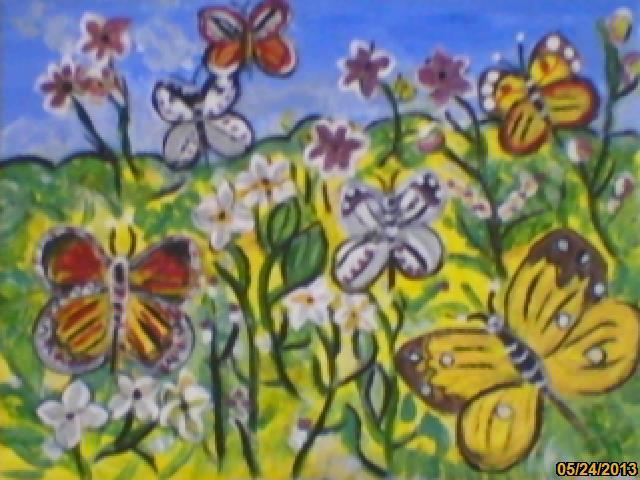 Picturi de vara camp cu fluturi