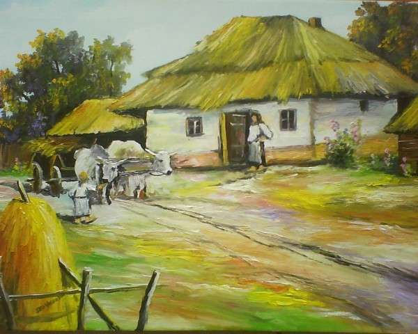 Picturi de vara Peisaj rustic-naiul romanesc