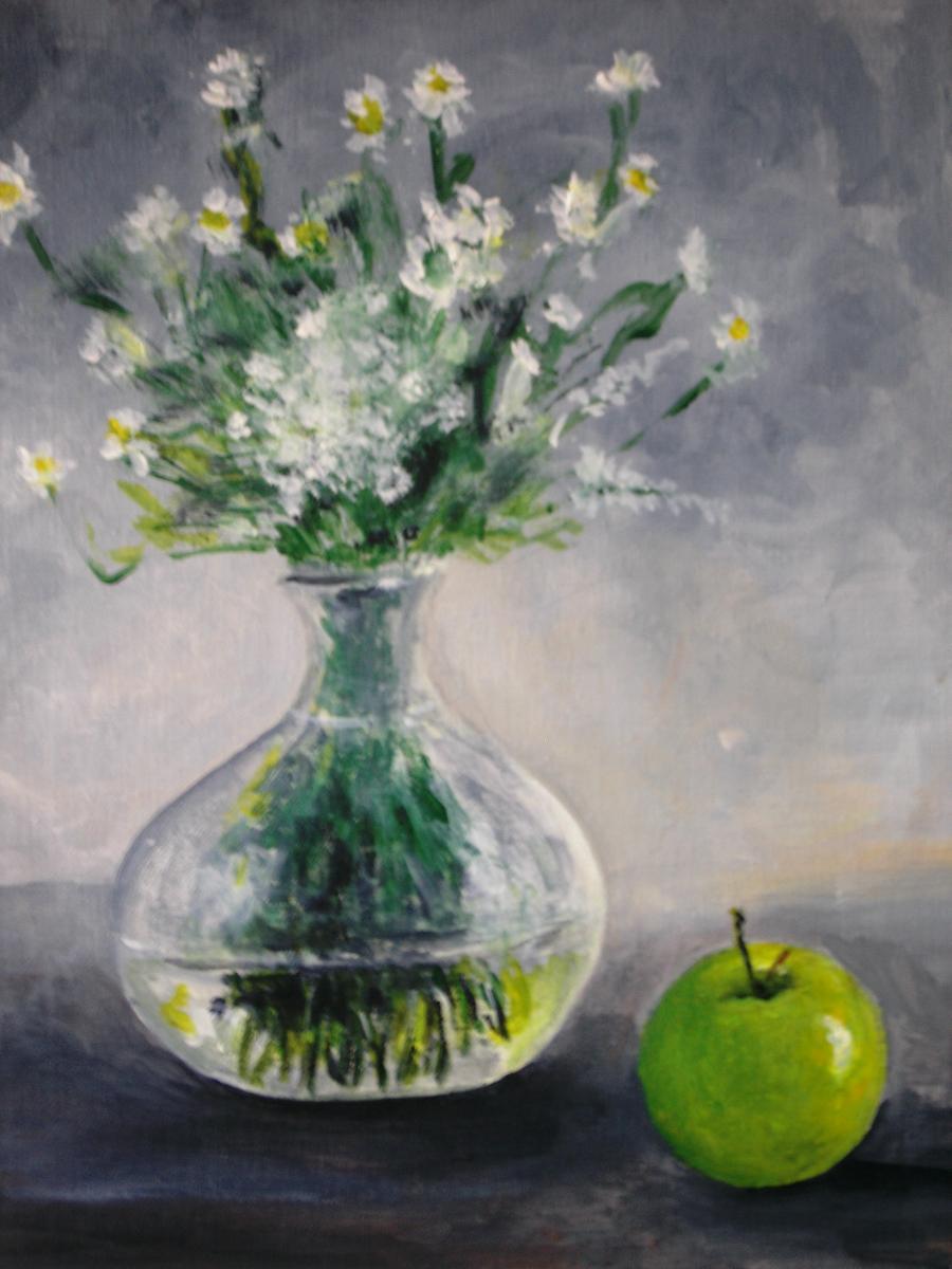 Picturi decor flori albe in vaza