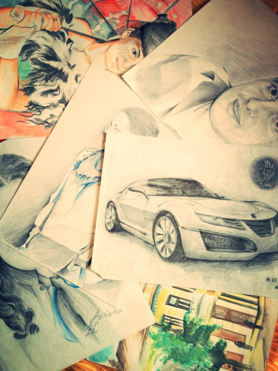 Picturi in creion / carbune studii