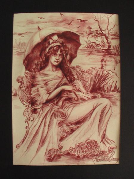 Picturi in creion / carbune Fata cu umbrela