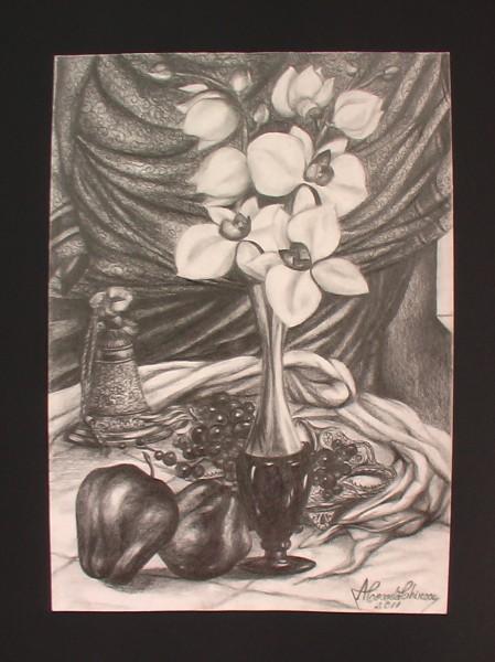 Picturi in creion / carbune Natura statica cu orhidee