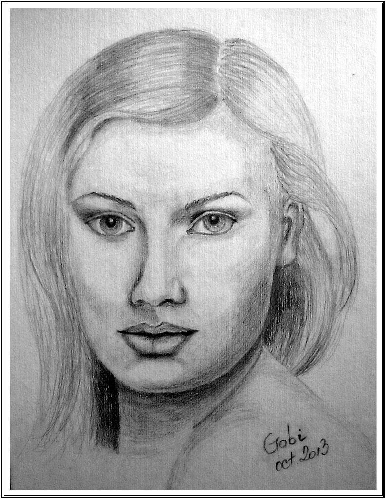 Picturi in creion / carbune Portretul Adelinei