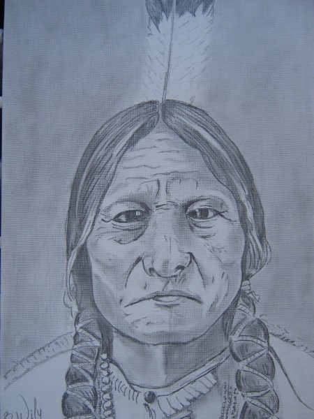 Picturi in creion / carbune Indian chief
