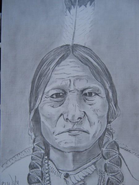 Picturi in creion / carbune Indian chief