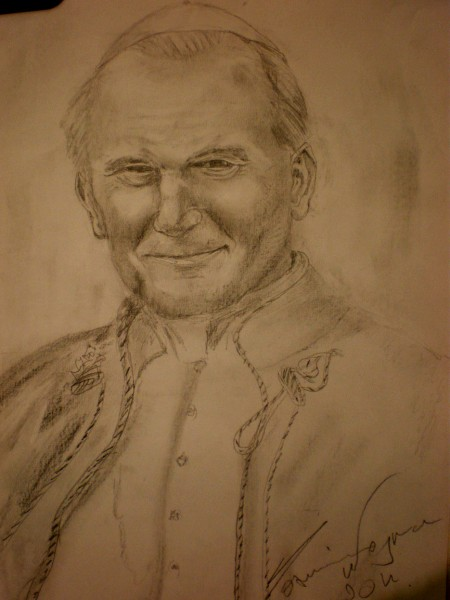 Picturi in creion / carbune Papa ioan paul ii