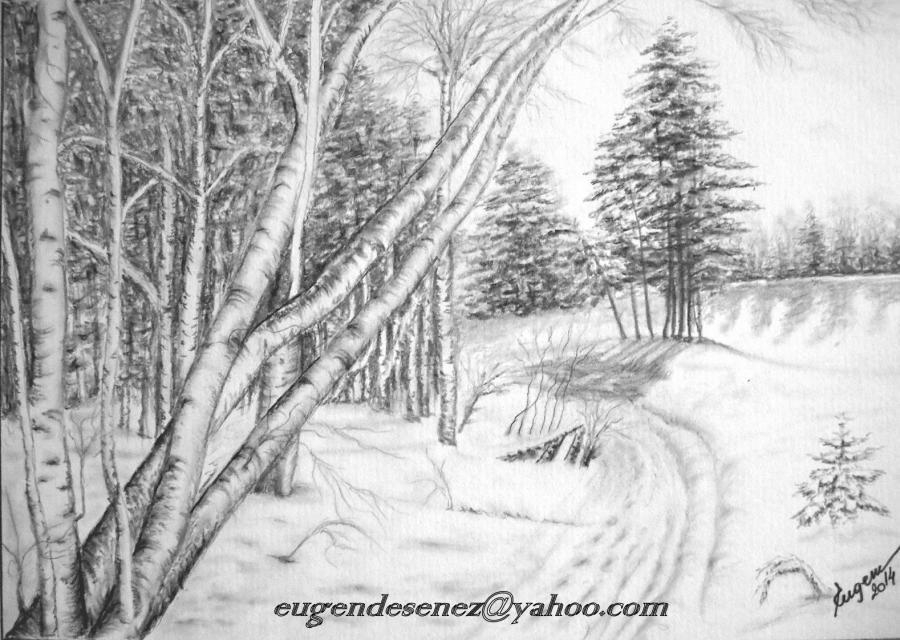 Picturi in creion / carbune drumul iernii