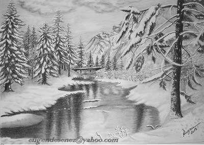 Picturi in creion / carbune iarna in padure