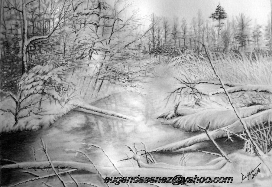 Picturi in creion / carbune Poveste de iarna