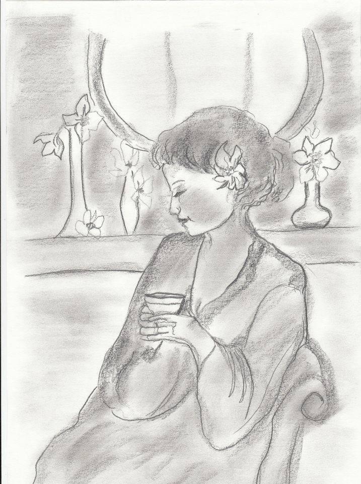 Picturi in creion / carbune La o cafea