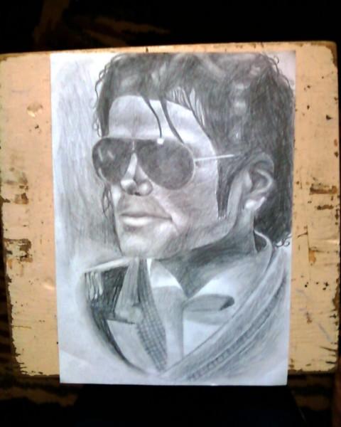 Picturi in creion / carbune Portret in creion michael jackson