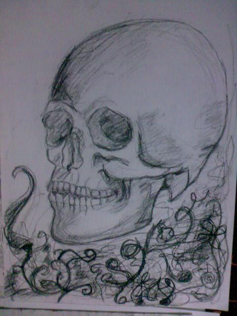Picturi in creion / carbune Craniu II
