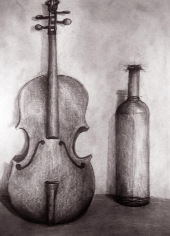 Picturi in creion / carbune Muzicantul