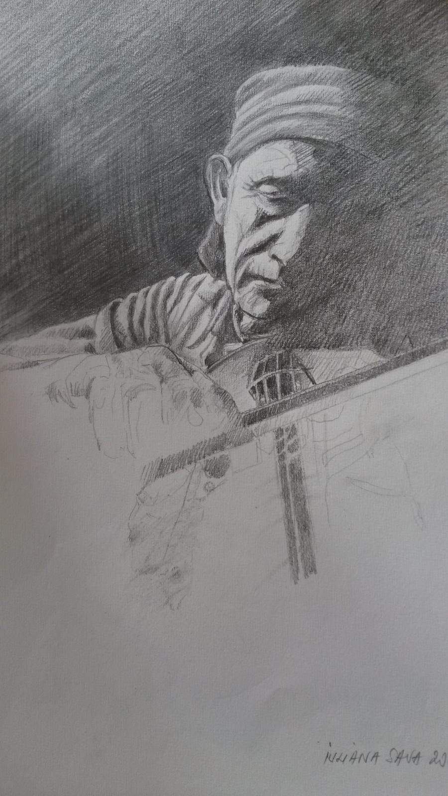 Picturi in creion / carbune scripcar cantand