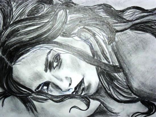 Picturi in creion / carbune Look at me!