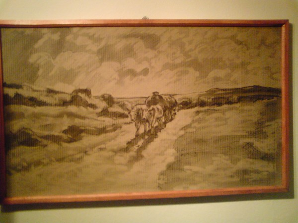 Picturi in creion / carbune Car cu boi reproducere