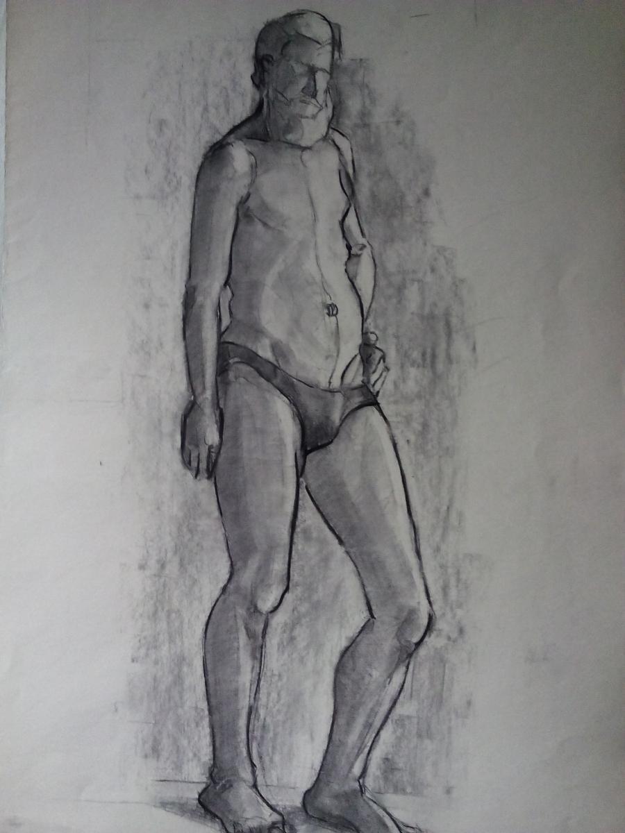 Picturi in creion / carbune c6 dupa model, in studentie anii70