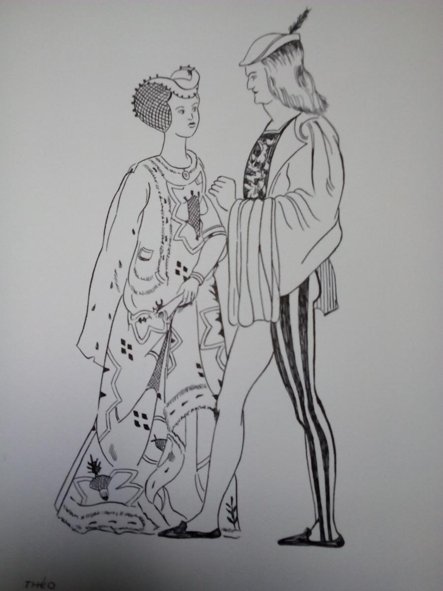 Picturi in creion / carbune costume XX