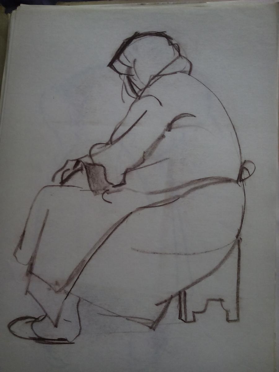 Picturi in creion / carbune st1 anii 70