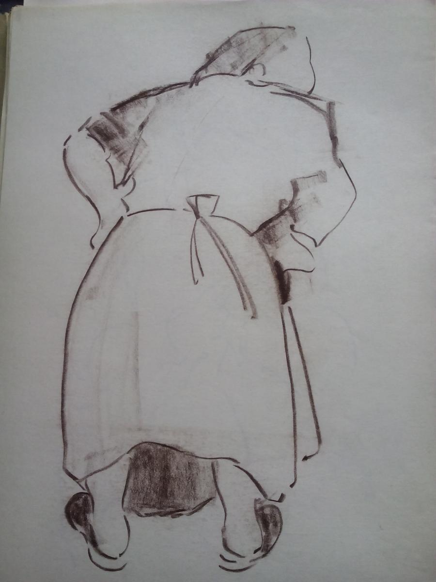 Picturi in creion / carbune st2 anii 70