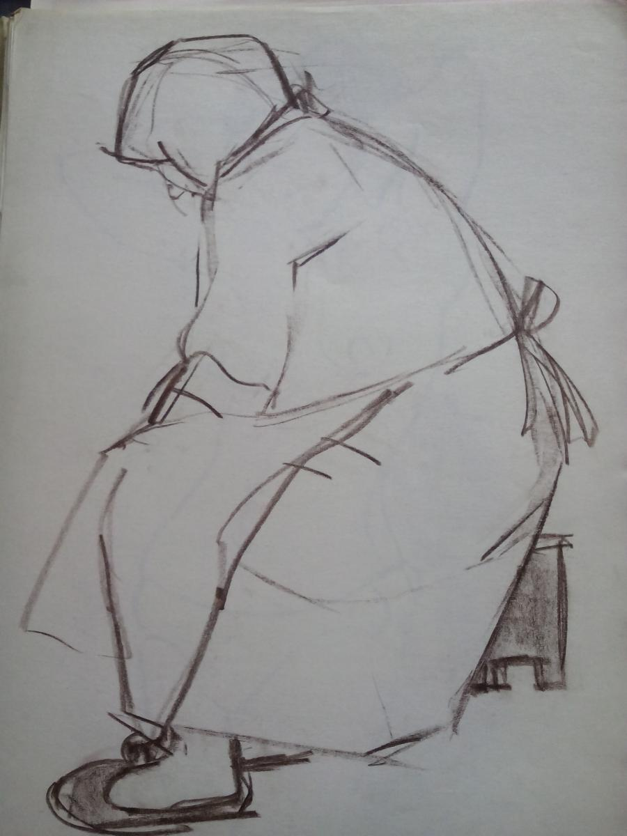 Picturi in creion / carbune st3 anii 70