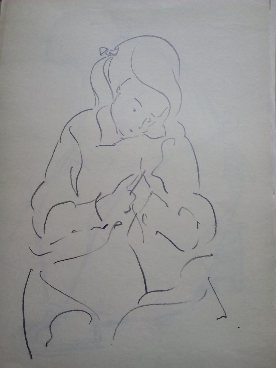 Picturi in creion / carbune st4 anii 70