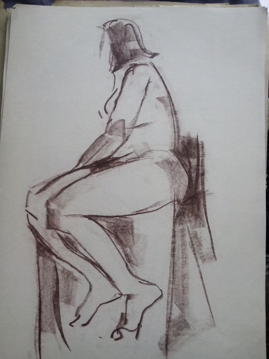 Picturi in creion / carbune st 10 anii 70